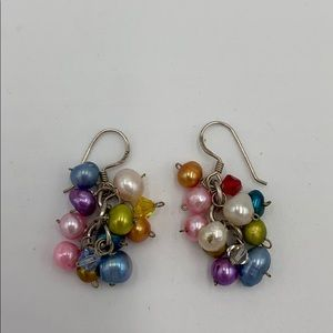 Sterling Silver genuine Pearl rhinestone earrings